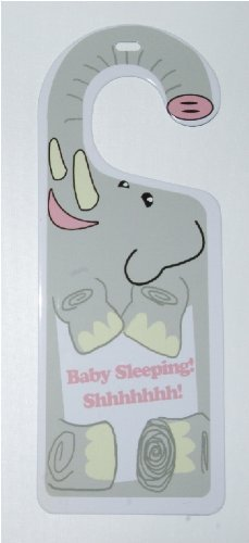 Elephant Baby Sleeping Shhhhhhh Tin Door Knob Hanger for Nursery, Bedroom, Gift Sign of the Times
