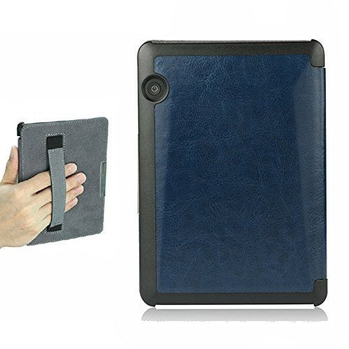 ISeeSee Kindle Voyage Case  Case for Kindle Voyage Protective Holding Leather Cover with Auto Sleep/Wake for Amazon Kindle Voyage (2014) Dark blue