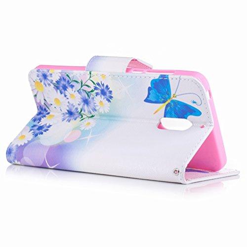 Yiizy Nokia 6 Custodia Cover, Farfalla Blu Design Sottile Flip Portafoglio PU Pelle Cuoio Copertura Shell Case Slot Schede Cavalletto Stile Libro Bumper Protettivo Borsa