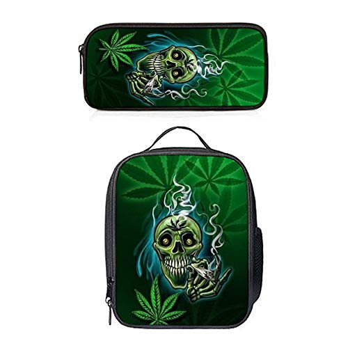 SARA NELL Lunch Backpack Lunch Box Lunch Tote Marijuana Leaf Weed Cool Halloween Skull Lunch Bag&Pencil Case Set with Straps for Boys Girls -