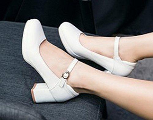 Aisun Simple Bout Rond Robe Femme Plate-forme Chunky Talons Moyens Pompes Chaussures Avec Sangles De Cheville Blanc