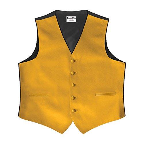 Gold Satin 5 Button Full Back Vest (Tuxedo Vest Button 5)