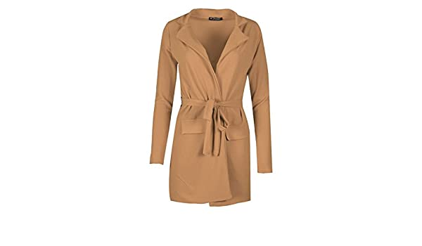 Womens Ladies Crepe Open Front Collared Belted Pockets Duster Cape Cardigan Top