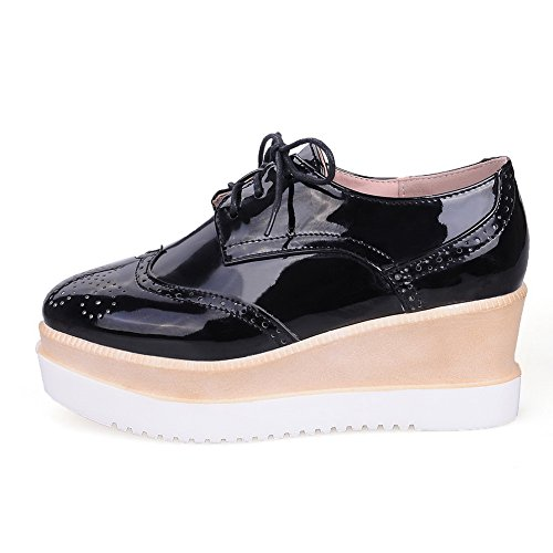 AllhqFashion Womens Square Closed Toe Kitten-Heels Soft Material Solid Lace-up Pumps-Shoes Black tQe5sTCZvq
