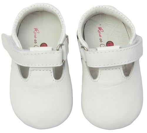 Rose & Chocolat Strap Baby Mädchen Krabbelschuhe Weiß (White 104100612)