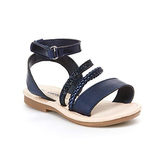 Girls Navy Sandals (carter's Girl's Filipa Braided Strappy Sandal, Navy, 10 M US)