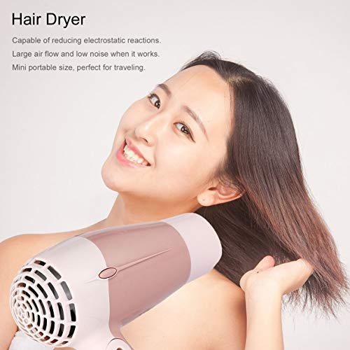 Mini Portable Foldable Handle Compact 1000W Hair Dryer Blow Dryer Hot Wind Low Noise Long Life for Outdoor Travel by Detectoy (Image #3)