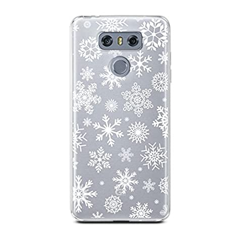 LG G6 Case, CasesByLorraine Christmas Snowflakes Clear Transparent Case XMAS Holiday TPU Soft Gel Protective Cover for LG G6 - Top Snowflakes