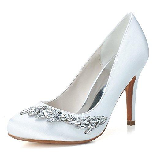 Plate Personnalisé Haut 5623 Ht L yc Fermés De Satin Pompe Chaussures Orteils Talon forme White 02 Féminins Mariage Gamme Strass RvxUWR
