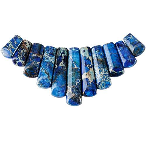 (Nupuyai Polished Stone Loose Beads for Jewelry Making, Top Drilled Gradutated Sticks Pendant Beads Set)