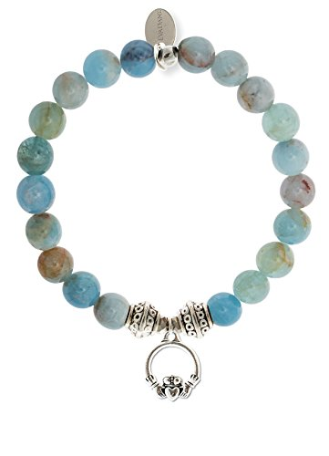 EvaDane 1_AQU_S_T_CLA_7 Natural Semi Precious Aquamarine Beryl Gemstone Tibetan Bead Claddagh Charm Stretch Bracelet