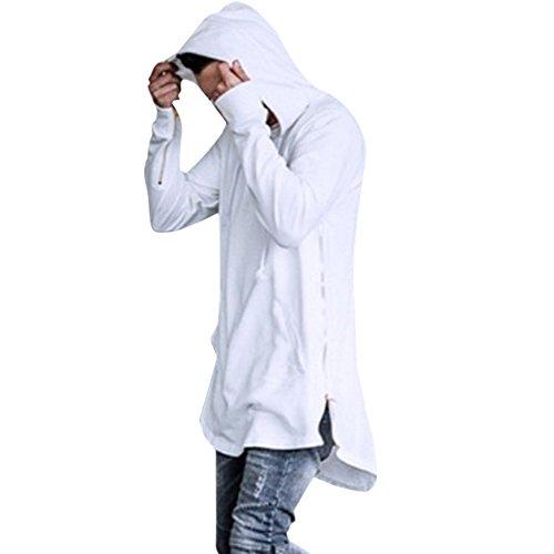 p Hop Classic Pullover Long Zipper Hoodie Sweatshirts Jacket (US L, White) ()