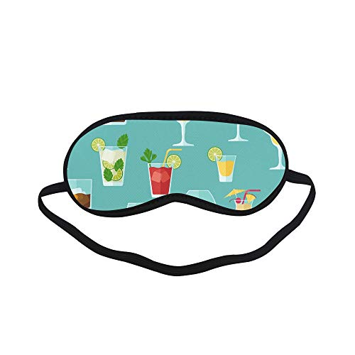 All Polyester Cocktail Color Design Creative Romance Sleeping Eye Masks&Blindfold by Simple Health with Elastic Strap&Headband for Adult Girls Kids and for Home Travel