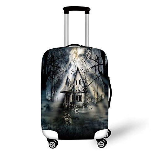 Travel Luggage Cover Suitcase Protector,Halloween,Haunted House with Dark Horror Atmosphere Cloudy Mysterious Frightening,Grey White Black,for -