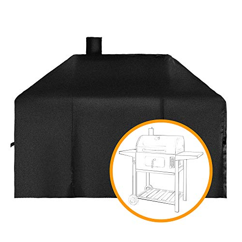 Cover Canvas Wheel Heavy Duty (i COVER Smoker Grill Cover Sized for Char-Griller Charcoal Grill 2190 and 2197 Heavy Duty Waterproof Patio 600D Canvas Barbeque BBQ Grill Cover G21623)