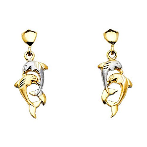 - Women's 14k Two Tone Gold Dangling Dolphin Post Earrings (1.06 in x 0.31 in)