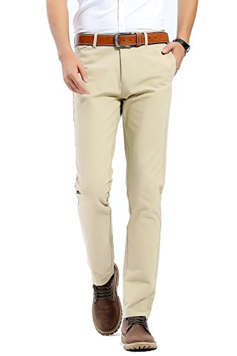 Wool Zip Fly Trousers (INFLATION Men's Casual Slim Tapered Stretchy Pant Comfort Straight Leg Trousers Light Khaki 34)