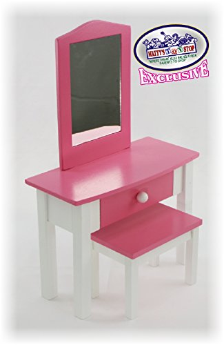 Matty's Toy Stop Pink/White Wooden Doll Furniture Doll Vanity with Bench and Pull Out Drawer for 18 inch Dolls (Fits American Girl Dolls) Doll Furniture 18' Dolls