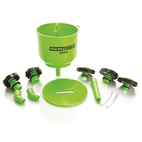 - OEMTOOLS 87009 No-Spill Coolant Filling Plastic Funnel Kit Green