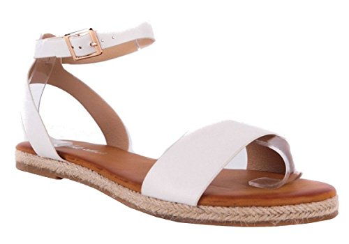 SHU CRAZY Womens Ladies Faux Suede Slingback Open Toe Flat Gladiator Summer Espadrille Fashion Sandals Shoes - M90 White N9oPNpakuU