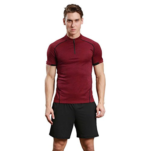 Jiayiqi Mens Contrast Color Tees Quick-Dry Outdoor Hiking Zipper T-Shirts