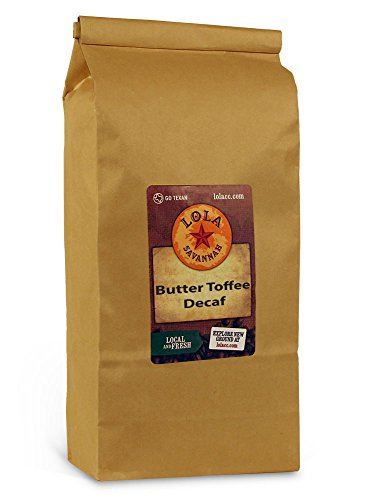 Lola Savannah Butter Toffee Ground Coffee - Old Fashioned Toffee | Flavored Arabica Beans with Sweet Cream & Sugar | Decaf |  2 Pound