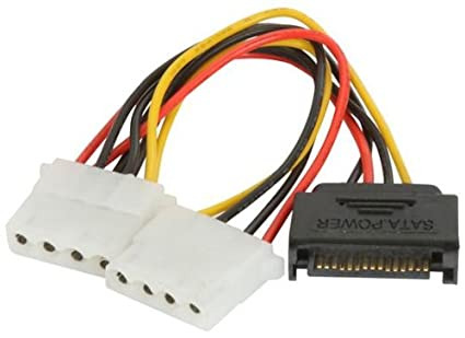 CableHero SATA Serial ATA Power (Male) to 2x 4-Pin Molex (Female)  Connectors Adapter Linear Splitter Extension Converter Cable:  CABLEHERO-S15M42