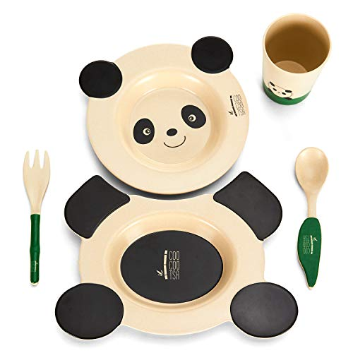 Baby Dinnerware Set for Baby Feeding – 5 Piece Kids Dinner Set – Cute Panda Design – Eco Friendly Bamboo Fiber – Includes 2 Toddler Plates, 1 Cup, Fork and Spoon – Ideal Baby Shower Gift by Coocootsa