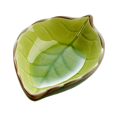 Set of 4 Zakka Multi-Purpose Leaf-Shaped Sauce Dishes 11x7cm [Green]