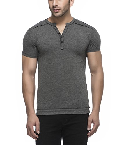 Tinted Mens Solid Henley Half Sleeve T Shirt Anthera Large