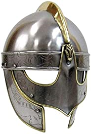 AnNafi Handcrafted Viking Wolf Armor Helmet  Medieval Metal Knight Helmets  with Brass Accents   Wearable for