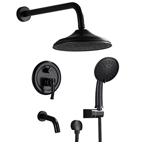 "Shower System, Wall Mounted Shower Faucet Set for Bathroom with High Pressure 8"" Rain Shower head,3-Setting Handheld Shower Head Set and tub spout, Matte Black"