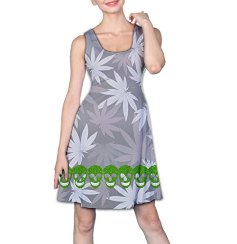 COW GO GO Women's Cannabis Green Skull Reversible Sleeveless Dress