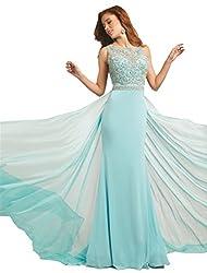 Rhinestone Pearl Beaded Long Evening Prom Dress