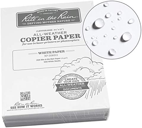 """Rite within the Rain All-Weather Bulk Copier Paper, 8 1/2"""" x 11"""", 20# White, 500 Sheet Pack (No. 208511)"""