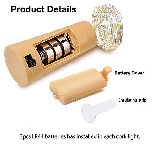 Bottle Lights, HTLY SPR 6 Packs Imitation Cork Copper Starry Wine Bottle Lights, Battery Powered Warm White Wire Bottle Lights for Bedroom, Parties, Wedding, Decoration(2m/7.2ft Warm White)