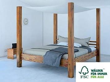 SAM Himmelbett 160x200 cm Ella aus Akazien-Holz Massiv inkl. Stoffhimmel,  Unikat, Doppelbett