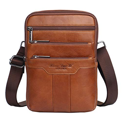 Hebetag Vintage Leather Shoulder Messenger Bag for Men Travel Business Crossbody Pack Wallet Satchel Sling Chest Bags Brown