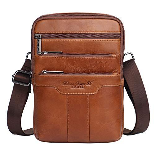 Hebetag Vintage Leather Shoulder Messenger Bag for Men Travel Business Crossbody Pack Wallet Satchel Sling Chest Bags Brown ()