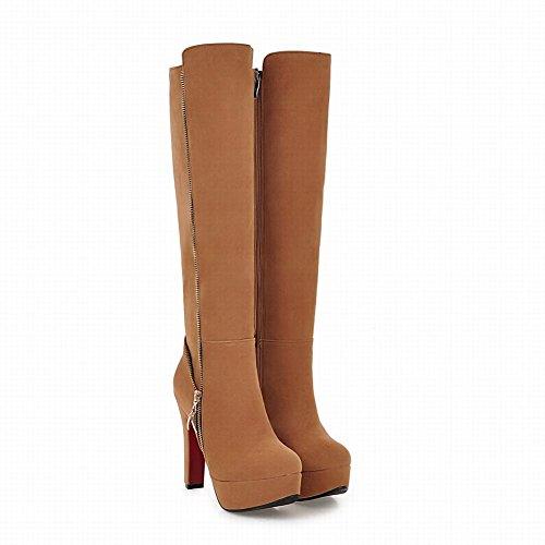 Mee Shoes Damen Reißverschluss runde Plateau langschaft high heels Stiefel Gelb