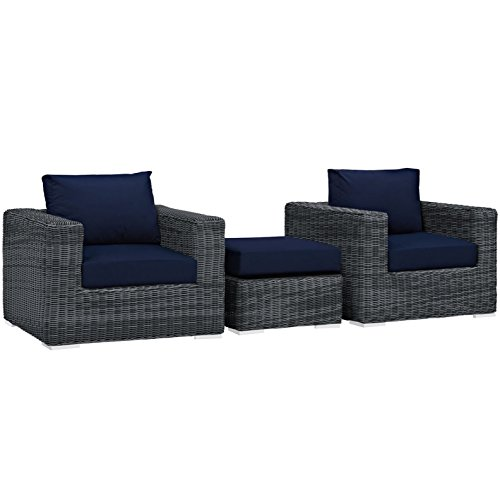 Italian Design Fabric Sectional Sofa (Modern Contemporary Urban Design Living Lounge Room Sectional Sofa Set, Navy Blue, Rattan)