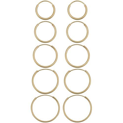 14k Yellow Gold 1mm Round Tube Endless Hoop Earrings (10, 12, 14, 16 or 18 mm)
