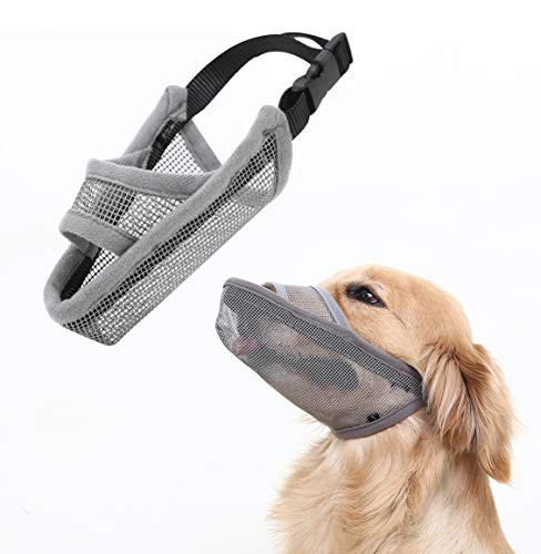 Crazy Felix Nylon Dog Muzzle for Small Medium Large Dogs, Air Mesh Breathable and Drinkable Pet Muzzle for Anti-Biting Anti-Barking Licking (L, Grey)
