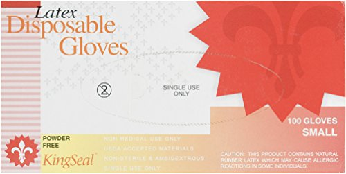 KingSeal Latex Powder-Free Disposable Gloves, Large, 4 mil - 2 Packs/100 per Pack by KingSeal