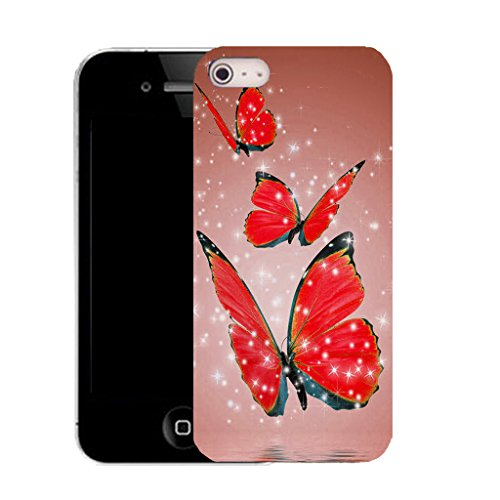 Mobile Case Mate IPhone 4 clip on Silicone Coque couverture case cover Pare-chocs + STYLET - red alluring butterflies pattern (SILICON)
