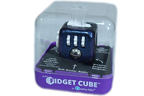 Zuru Fidget Cube by Antsy Labs - Custom Series (Chameleon Paint) Purple Glitter Fidget Cube with White Accents