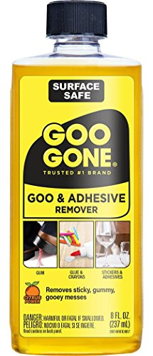 - Goo Gone Original Liquid - 8 Ounce - Surface Safe Adhesive Remover Safely removes Stickers Labels Decals Residue Tape Chewing Gum Grease Tar