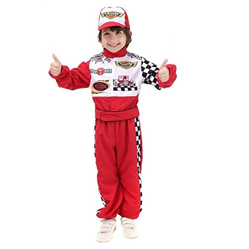 Race Car Driver Costumes Kids (ROMASA Cosplay Children Masquerade Costume Race Car Driver,S(3.4-3.94Ft/4-6) ,Red)