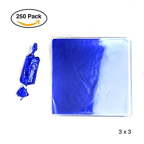 Linen and Bags 250 Foil Candy Wrappers for Chocolates, Caramels, Lollipops, and Crafts (3x3, Blue) -