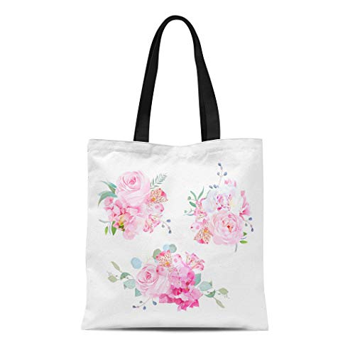 (Semtomn Canvas Tote Bag Shoulder Bags Gentle Mix of Pink Bouquets Rose Alstroemeria Lily White Women's Handle Shoulder Tote Shopper Handbag)